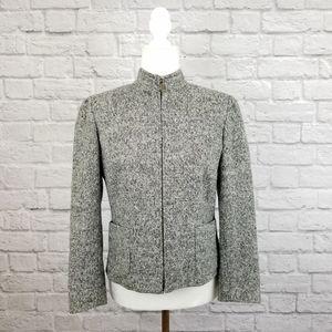 MaxMara Weekend gray tweed zipper blazer jacket